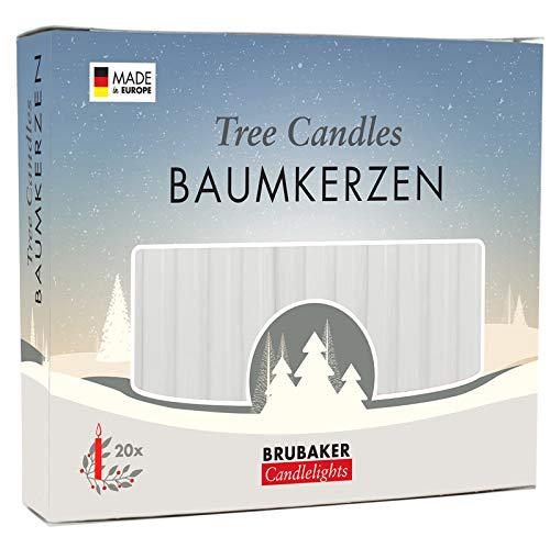 Brubaker 20er Pack Baumkerzen Wachs Weihnachtskerzen Pyramidenkerzen Christbaumkerzen Weiß