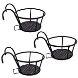 KR Hanging Planters Basket,Iron Art Hanging Baskets,Flower Pot Holder Over The Rail Fence for Patio Balcony Porch Fence Set 3 Pack