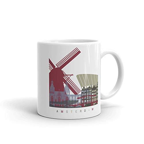Taza de café de Amsterdam Países Bajos, idea de regalos para el hogar, taza de té, regalos de día de Acción de Gracias, regalo de Navidad, 15 onzas