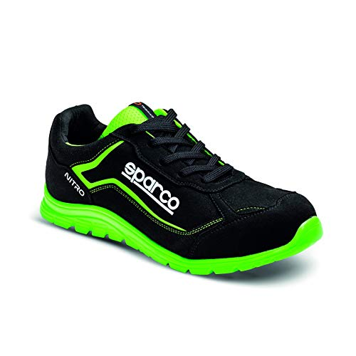 Sparco - Zapatillas Nitro S3 Black/Fluo Green, 47 eu