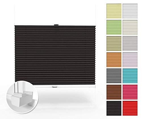 Home-Vision Premium Plissee nach Maß, ohne Bohren mit Klemmträger, Blickdicht Jalousie für Fenster & Tür Sonnenschutzrollo (Schwarz, B71-80cm x H151-200cm)
