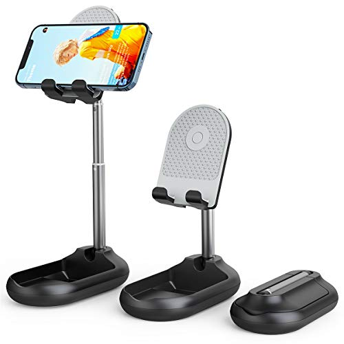 Licheers Cell Phone Stand, Angle Height Adjustable Phone Stand Holder for Desk, Fully Foldable iPhone Stand Holder, Case Friendly Compatible with All Mobile Phone/iPad/Kindle/Tablet (Black)