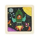 Georgie Porgy Rompecabezas Multicolor de 9 Piezas de Dibujos Animados Puzzle Rompecabezas de Juguete Educativo de Madera para niños (DY902 Lanzamiento del Cohete)