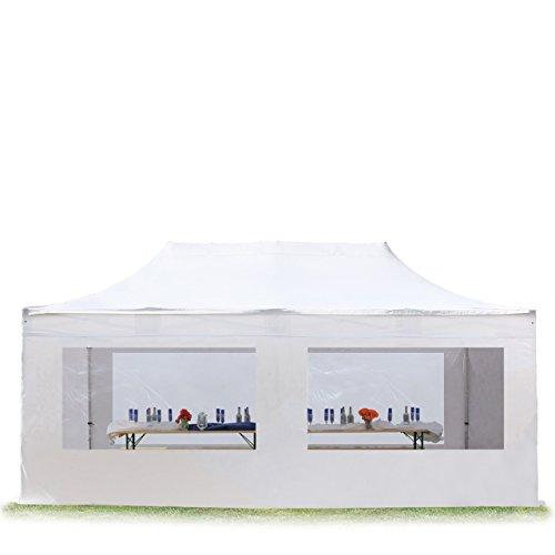 TOOLPORT Faltpavillon Faltzelt Premium NEO 3x6m - mit Panoramafenster ALU Pavillon Partyzelt Dach 100% WASSERDICHT weiß