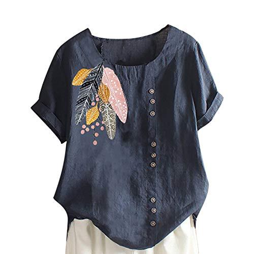 Tuniken Leinen Kurzarm Tee Tops Sommerblusen Schmetterling Druck Shirt Oversize T-Shirt Tunika Damen Herbst Leinen T Shirt Blau #62 3XL