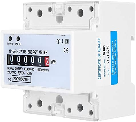 Standaard enkele fasemeter 5 80 A 230V AC 88mm elektrische meter gemaakt van puur koper en kunststof gedurende 1 minuut
