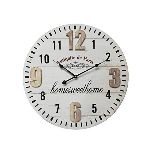 Rebecca Mobili Reloj Redondo, Relojes de Pared, Blanco Negro Marrón, Shabby, Metal MDF, Salón - Medidas: 50 x 50 x 4 cm (AxANxFON) - Art. RE6569