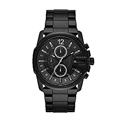 Diesel Men's Master Chief Quartz Watch - 46mm; Band size: 27mm; quartz movement with 3-hand analog display, date window, and 3 chronograph subdials; mineral crystal face; imported Black plated stainless steel case with cut-out detail; black dial with textured dark grey outer dial; luminous hands and hour markers; black Arabic numeral at 12 o'clock