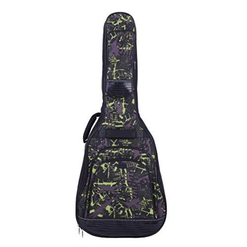 Asdomo - Funda para guitarra acústica de 42 pulgadas con correa ajustable para el hombro, tela 600D, 2 asas acolchadas y múltiples bolsillos, color azul, verde