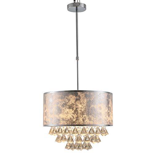 HOMCOM Lampadario Moderno a Sospensione in Cristallo con Altezza Regolabile, 44 Pendenti in Vetro, Illuminazione per Casa e Ufficio