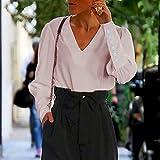 PKYGXZ Blusa para mujer, manga puff, blusa para mujer, con botones blancos, cuello en V, primavera, elegante, para oficina, dama de calle, camisetas para mujer