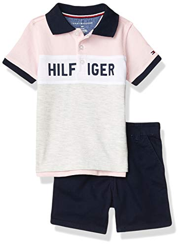 Tommy Hilfiger Baby Boys' 2 Pieces Polo Shorts Set, Navy/Blue/Grey, 18M
