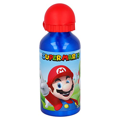Super Mario   Bottiglia in aluminio per bambini - Borraccia infantile – Bottiglia d'acqua reutilizzabile - 400 ML