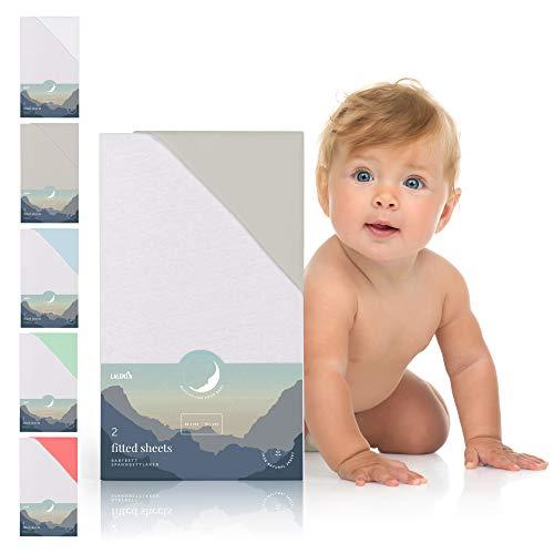 Laleni 2er Set Spannbettlaken für Babybett Kinderbett - 60x120 bis 70x140 cm, atmungsaktiv, 100% Baumwolle