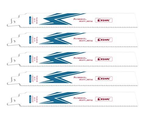 EZARC Hojas de sierra sable Bimetálica Cobalt R926PM+ 225mm 14TPI puede Cortar Metal Pesado - 5 piezas