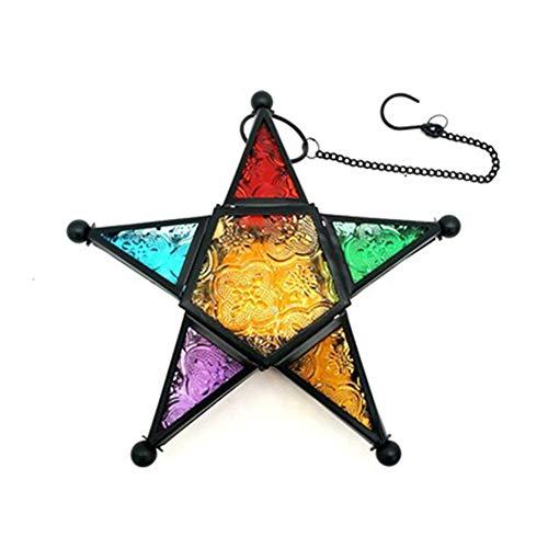 Gelentea Retro-Laterne aus Eisen, marokkanischer Pentagramm-Stil, einzigartig, schmiedeeisernes Glas, Kerzenhalter für Heimdekoration Schwarz