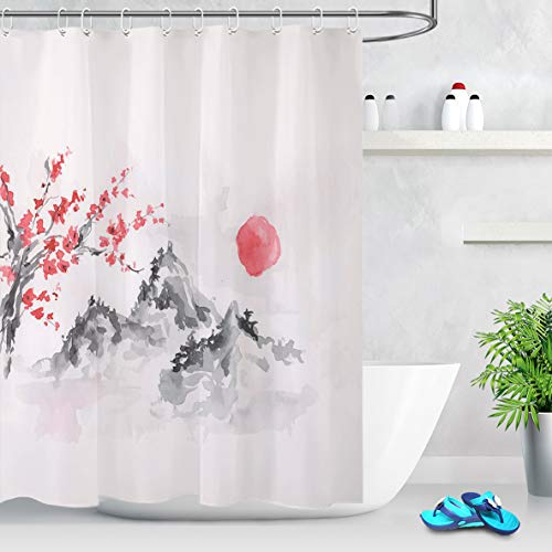 LB Japanisch Duschvorhang 150x180cm Antischimmel Wasserdicht Polyester Badezimmer Gardinen Chinesische Rote Blumen Sonne & Berg Bad Vorhang mit Haken