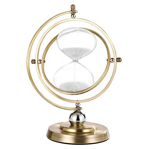 Sanduhr 60 Minuten, 360° Drehbare Sanduhr 60 Minuten, Vintage Metall Sanduhr 60 Min, Einzigartige Sanduhr 1 Stunde Glas für Messing Dekor
