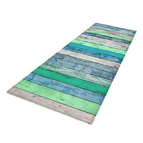 PETSOLA Küchenläufer Teppichläufer rutschfest waschbar Läufer Küchenteppich Teppich Schmutzfangmatte Eingangsmatte für Innen und außen - Blau, 40 x 120 cm