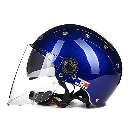 Casque de voiture électrique Casque de protection solaire d'été pour hommes Légère semi-couverte Double casque d'été pour hommes (Color : Blue)