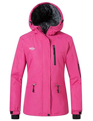 Wantdo Women's Waterproof Snow Jacket Winter Removable Hooded Coat Rose Red XL