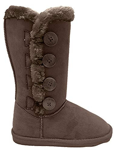 Women's Fur Mid-Calf 4 Buttons Faux Soft Snow Winter Flat Boot Shoes New 02 (5.5, Brown)