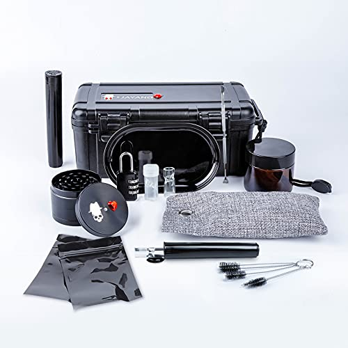 Humidor,Travel Humidor with Humidor Case The 12 Pieces Accessory in Portable Container Include Lock,Grinder,Storage Tube,Tray,Double-Ended Pick as Gift Set for Men and Women