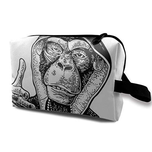 Bolsa de maquillaje bolsa cosmética Monkey Raper Dred en sudadera con capucha collar con bolsa multifuncional de viaje bolsa de almacenamiento