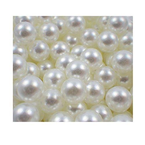 Sepkina Set 100 hochwertige nachgebildete lose Perlen Perle Dekoperlen Kunststoffperlen Streudeko Tischdeko ohne Loch 8mm Weiss