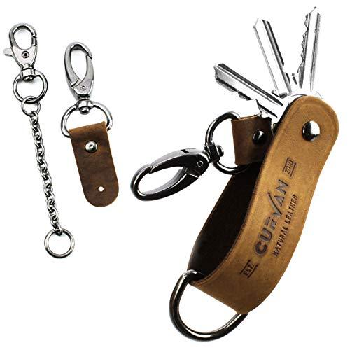 CURVAN - Portachiavi Uomo in Pelle | Smart Key Organizer di 1-6 Chiavi | 100% Vera Pelle di Bufalo | Porta-Chiavi Tascabile Compatto Portatile | In Confezione Regalo Premium