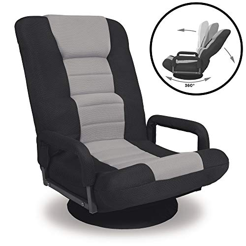 Best Choice Products Multipurpose 360-Degree Swivel Gaming Floor Chair w/Lumbar Support, Armrest Handles, Foldable Adjustable Backrest - Gray chair gaming gray