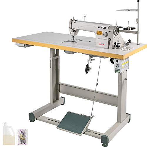 VEVOR Industrial Sewing Machine DDL8700 Lockstitch Sewing Machine with Servo Motor + Table Stand Commercial Grade Sewing Machine for Sewing