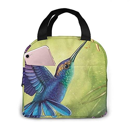 Lunchpåse Lunchpåse Isolerad Kylare Termisk Återanvändbar Väska Handväska Väskor För Kvinnans Arbete Picknick Eller Resor Lunchboxväskor Hummingbird Tryckt Bärbar