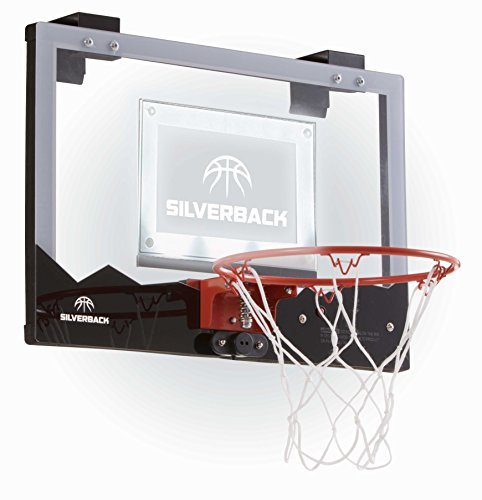 """Silverback 23"""" LED Light-Up Over the Door Mini Basketball Hoop Includes Mini Basketball and Air Pump , Black"""