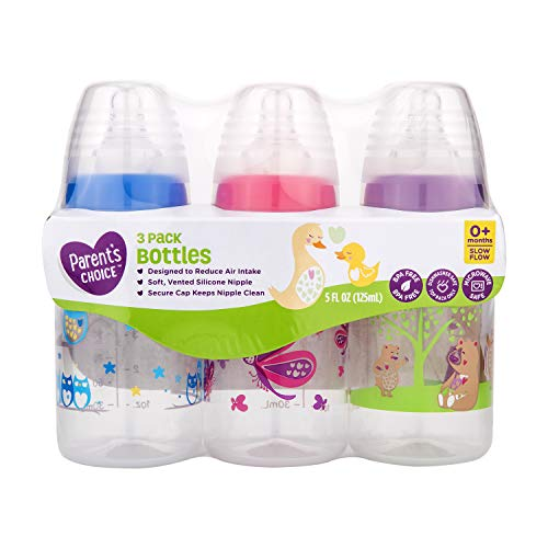 Parents Choice 3 Pack of 5 Ounce Baby Bottles Slow Flow Nipple