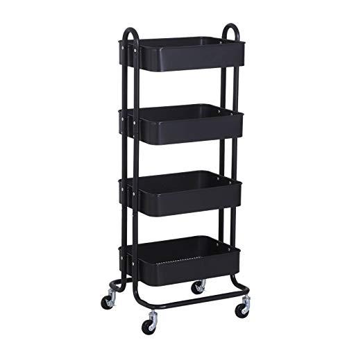 Carrito de cocina para servir con ruedas de 4 niveles para almacenamiento, 46,5 x 40,5 x 114 cm, color negro