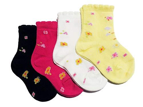 Weri Spezials Baby & Kinder Socke 'Blümchen' im 4er Set, Größe:31/34, Farbe:pink/marine/weiß/vanille