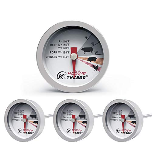 KT THERMO Steak Button Thermometer, Poultry Meat Thermometer, Instant Read Food Stainless Steel Dial Thermometers, Grill Mates Barbecue BBQ Tools, Grilling and Baking Steak Thermometers, Set of 4