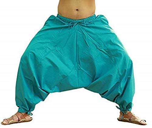 Royal Kurta Salwar Herren-Hose, Baumwollmischgewebe, Weiß Gr. Einheitsgröße, himmelblau