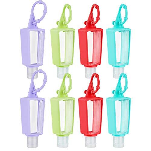 Olycism Kinder Reiseflaschen Set 8 Stück 30ml Cartoons Tragbare Silikon Reiseflaschen Klein Nachfüllbare Reisebehälter mit verstellbarem Silikonhaken für Kinder Schulaktivitäten