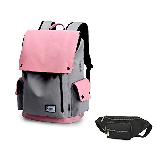 Wind Took Casual Laptop Backpack Daypack with USB Charging Port for 15 Inch Laptop and Notebook, Water-Repellent Rucksack for Travel/Business/College/Women/Men
