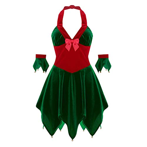 ranrann Robe de Noël Femme Lutin Costume Mère Noël Sexy Déguisement Elfe Velours Rouge Vert Manchettes Robe Soirée Ensemble Tenue Christmas Spectacle Dress Up Cosplay S-XL Vert&Rouge XL