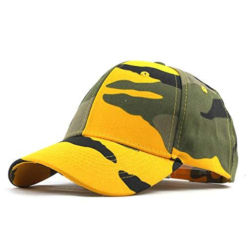 BaZhaHei Unisex Basecap Sommer Retro Freizeit Outdoor Sonnenschild Mode Camouflage Trucker Plain Baseball Visier Cap Papa Hut Sport Mütze Schirmmütze (Gelb, Free)