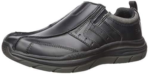 Skechers Leather Slip ON, Mocassino da Uomo Relaxed Fit Expected 2.0 Wildon, Nero, 39 EU