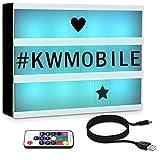 kwmobile Farbwechsel LED Lichtbox A4 mit Fernbedienung - 126 schwarze Buchstaben USB-Kabel - Kino...