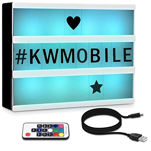 kwmobile Farbwechsel LED Lichtbox A4 mit Fernbedienung - 126 schwarze Buchstaben USB-Kabel - Kino Lightbox Leuchte - Deko Light Box Leuchtkasten