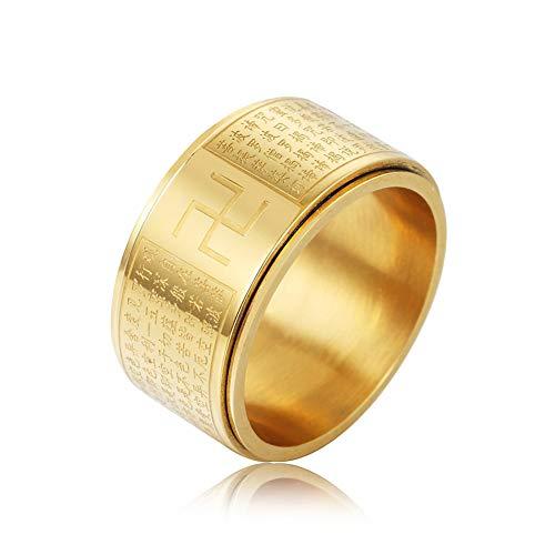 Anillo de acero de titanio, diseño de corazón budista giratorio para hombres y mujeres, anillo de compromiso, dos colores, 123, dorado, 11