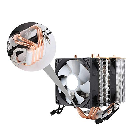 12V DC Radiator Double Fan, 9CM Cooling Cooler CPU Cooling Cooling Fan with 4 Heat Pipe, Radiator for Computer, Best Ideal for Computer