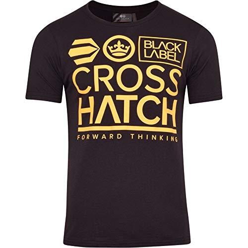 Crosshatch Herren T-Shirt, kurzärmelig, Rundhalsausschnitt, Logo, Baumwolle, modisches T-Shirt Gr. S, Schwarz