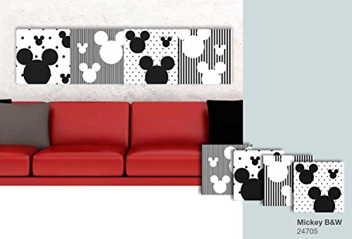 CREARREDA Decoración de pared 4 cuadros adhesivos de suave espuma Mickey BW Disney 27 x 27 cm 24705
